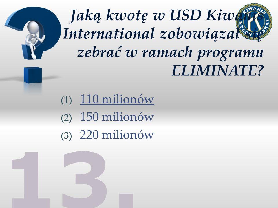Jaką kwotę w USD Kiwanis International zobowiązał się zebrać w ramach programu ELIMINATE.