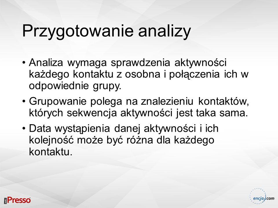 Przygotowanie analizy Analiza wymaga sprawdzenia aktywności każdego kontaktu z osobna i połączenia ich w odpowiednie grupy. Grupowanie polega na znale