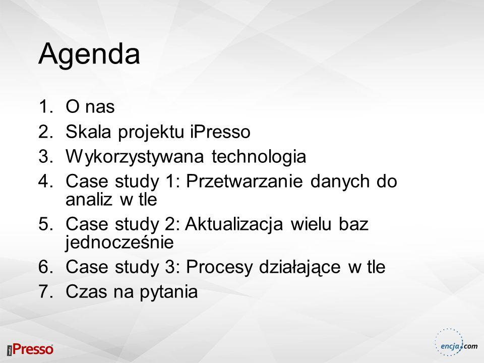 Agenda 1.O nas 2.Skala projektu iPresso 3.Wykorzystywana technologia 4.Case study 1: Przetwarzanie danych do analiz w tle 5.Case study 2: Aktualizacja wielu baz jednocześnie 6.Case study 3: Procesy działające w tle 7.Czas na pytania