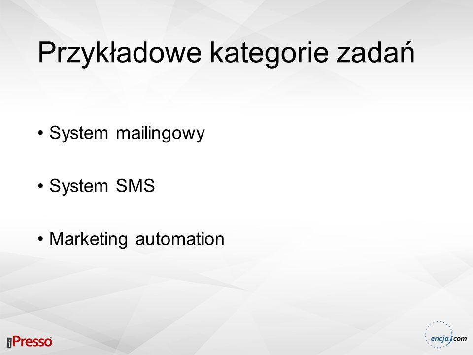 Przykładowe kategorie zadań System mailingowy System SMS Marketing automation