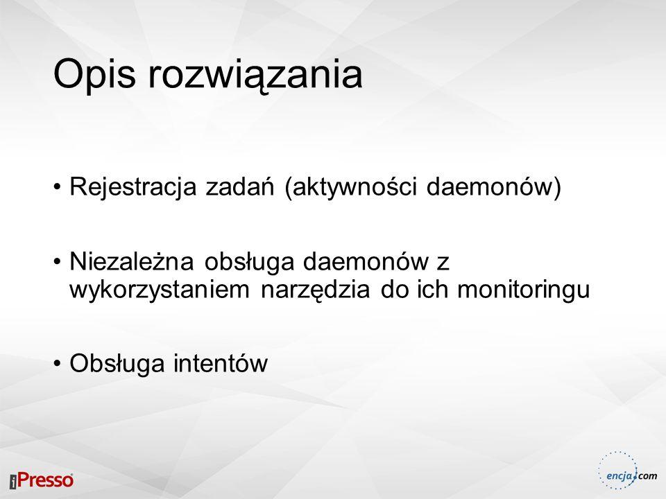 Opis rozwiązania Rejestracja zadań (aktywności daemonów) Niezależna obsługa daemonów z wykorzystaniem narzędzia do ich monitoringu Obsługa intentów