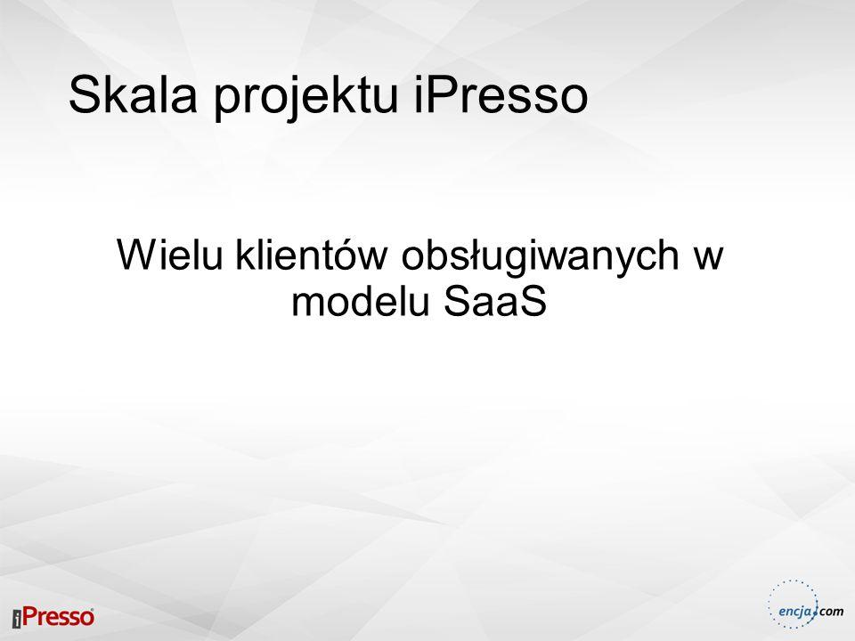 Skala projektu iPresso Ponad 500 000 kontaktów (użytkowników) obsługiwanych w ramach jednego klienta … i rośnie