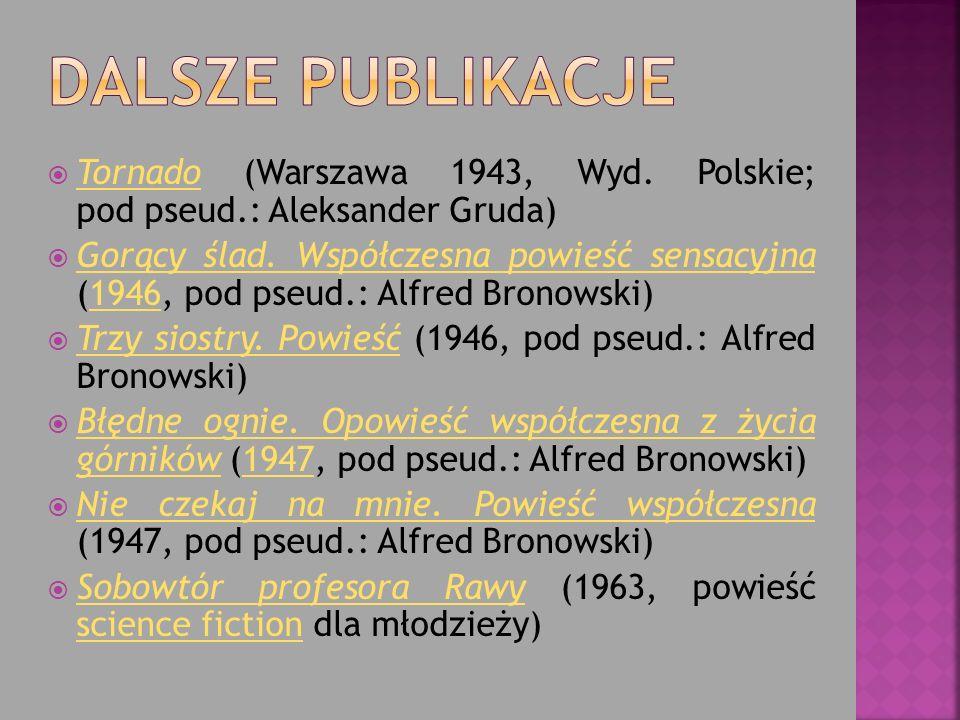 Tornado (Warszawa 1943, Wyd. Polskie; pod pseud.: Aleksander Gruda) Tornado Gorący ślad. Współczesna powieść sensacyjna (1946, pod pseud.: Alfred Bron