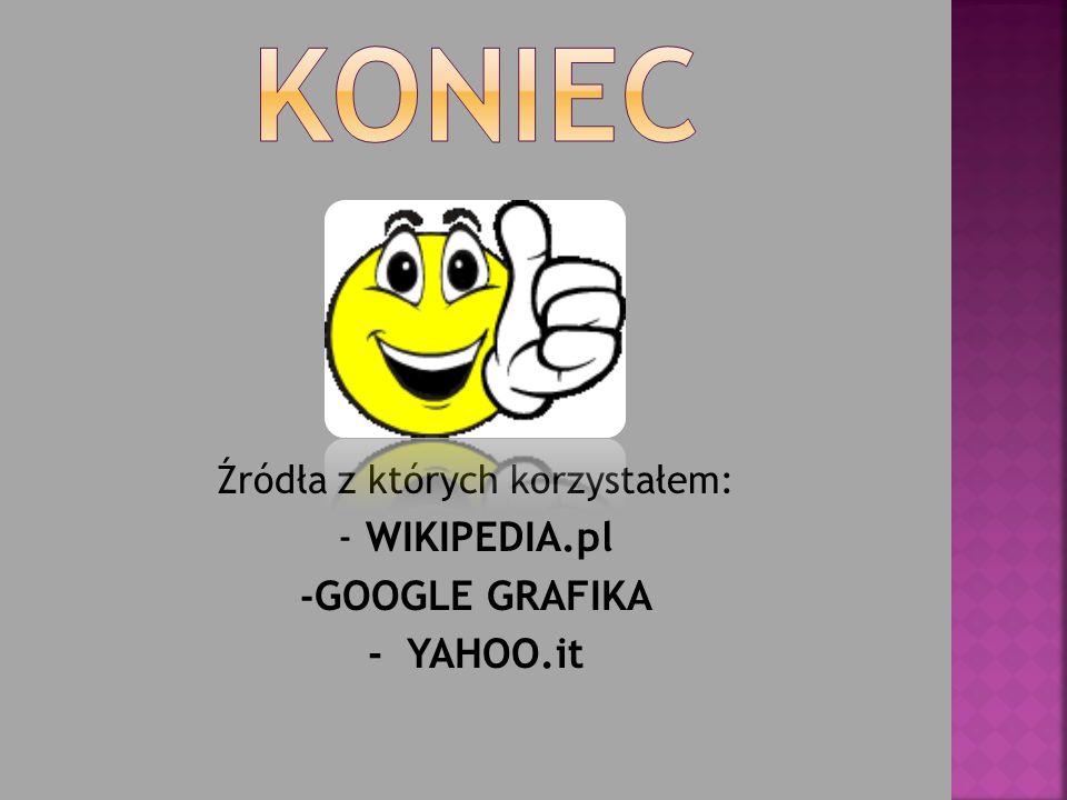Źródła z których korzystałem: - WIKIPEDIA.pl - GOOGLE GRAFIKA - YAHOO.it