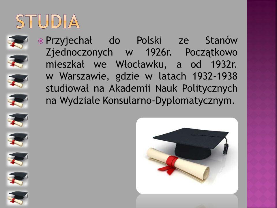 Przyjechał do Polski ze Stanów Zjednoczonych w 1926r. Początkowo mieszkał we Włocławku, a od 1932r. w Warszawie, gdzie w latach 1932-1938 studiował na
