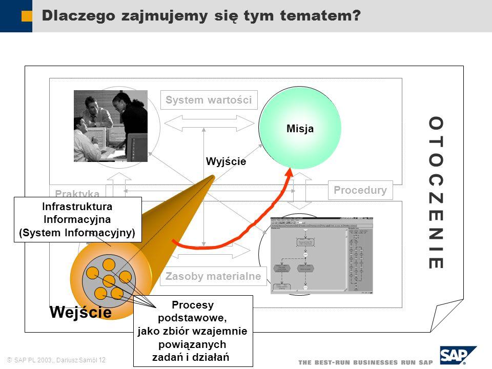 SAP PL 2003,, Dariusz Samól 12 Dlaczego zajmujemy się tym tematem? Zasoby ludzkie Cele i zadania Struktura formalna Sieć kompute- rowa Praktyka System