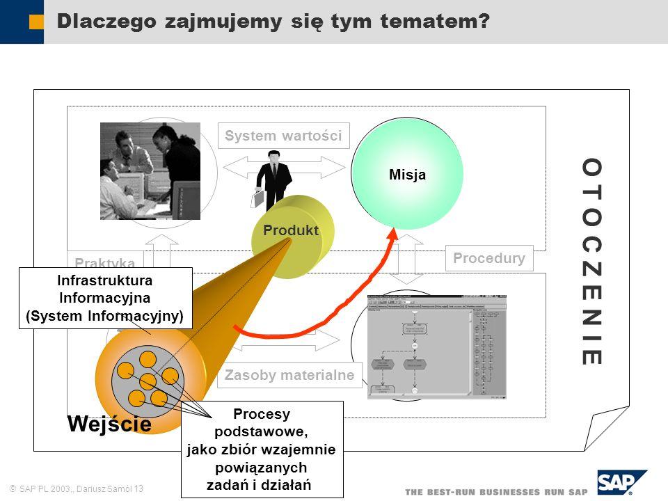 SAP PL 2003,, Dariusz Samól 13 System wartości Dlaczego zajmujemy się tym tematem? Zasoby ludzkie Cele i zadania Struktura formalna Sieć kompute- rowa