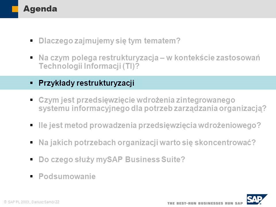 SAP PL 2003,, Dariusz Samól 22 Agenda Dlaczego zajmujemy się tym tematem? Na czym polega restrukturyzacja – w kontekście zastosowań Technologii Inform