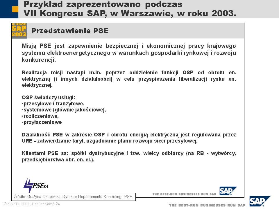 SAP PL 2003,, Dariusz Samól 24 Przykład zaprezentowano podczas VII Kongresu SAP, w Warszawie, w roku 2003. Źródło: Grażyna Dłutowska, Dyrektor Departa