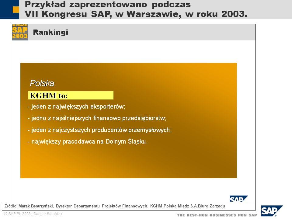 SAP PL 2003,, Dariusz Samól 27 Przykład zaprezentowano podczas VII Kongresu SAP, w Warszawie, w roku 2003. Źródło: Marek Bestrzyński, Dyrektor Departa