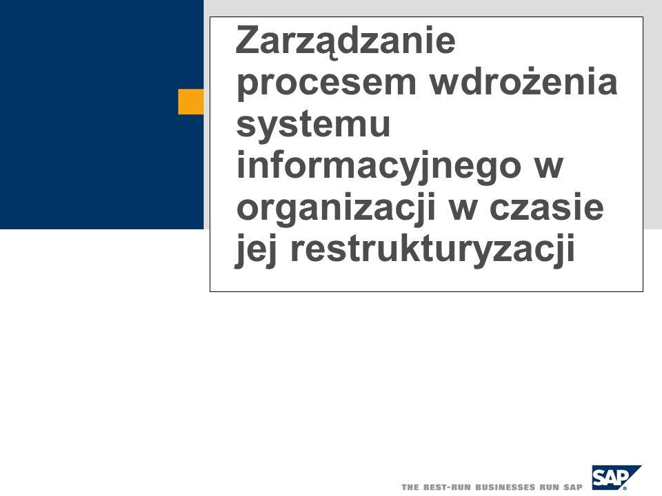 Zarządzanie procesem wdrożenia systemu informacyjnego w organizacji w czasie jej restrukturyzacji Dziękuję za uwagę