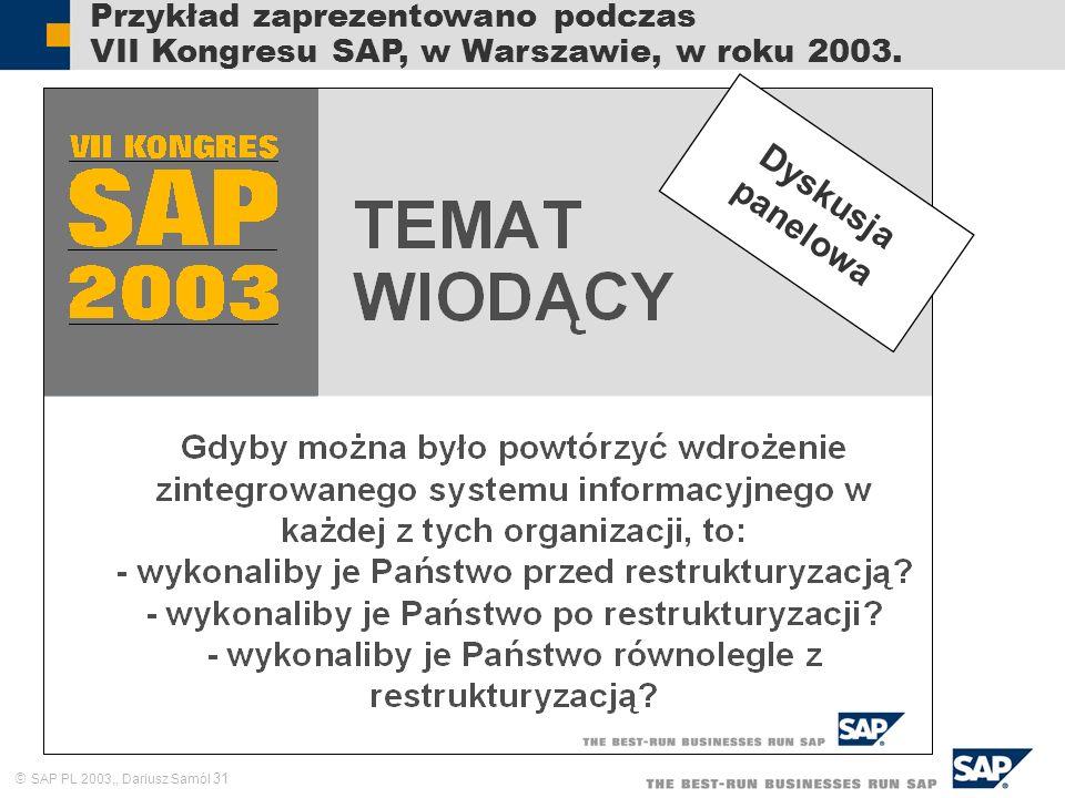 SAP PL 2003,, Dariusz Samól 31 Przykład zaprezentowano podczas VII Kongresu SAP, w Warszawie, w roku 2003. Dyskusja panelowa