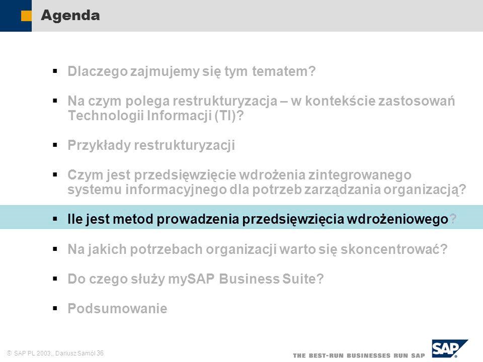 SAP PL 2003,, Dariusz Samól 36 Agenda Dlaczego zajmujemy się tym tematem? Na czym polega restrukturyzacja – w kontekście zastosowań Technologii Inform