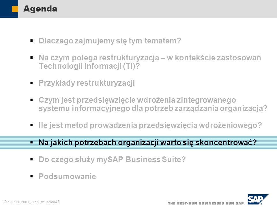 SAP PL 2003,, Dariusz Samól 43 Agenda Dlaczego zajmujemy się tym tematem? Na czym polega restrukturyzacja – w kontekście zastosowań Technologii Inform