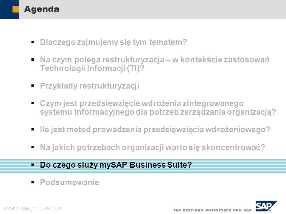 SAP PL 2003,, Dariusz Samól 51 Agenda Dlaczego zajmujemy się tym tematem? Na czym polega restrukturyzacja – w kontekście zastosowań Technologii Inform