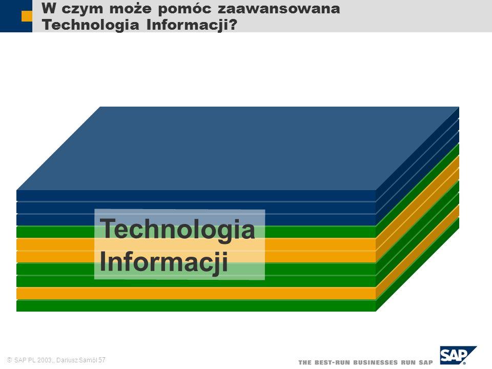 SAP PL 2003,, Dariusz Samól 57 W czym może pomóc zaawansowana Technologia Informacji? Technologia Informacji
