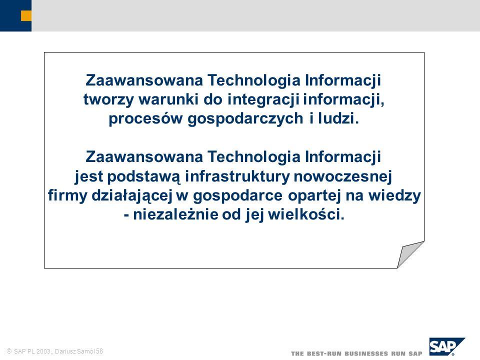 SAP PL 2003,, Dariusz Samól 58 Zaawansowana Technologia Informacji tworzy warunki do integracji informacji, procesów gospodarczych i ludzi. Zaawansowa