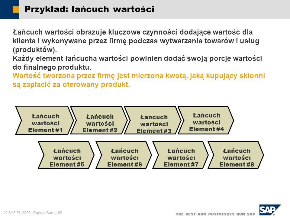SAP PL 2003,, Dariusz Samól 68 Przykład: łańcuch wartości Łańcuch wartości Element #1 Łańcuch wartości Element #2 Łańcuch wartości Element #3 Łańcuch