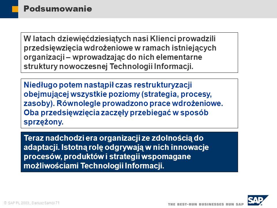 SAP PL 2003,, Dariusz Samól 71 Podsumowanie W latach dziewięćdziesiątych nasi Klienci prowadzili przedsięwzięcia wdrożeniowe w ramach istniejących organizacji – wprowadzając do nich elementarne struktury nowoczesnej Technologii Informacji.