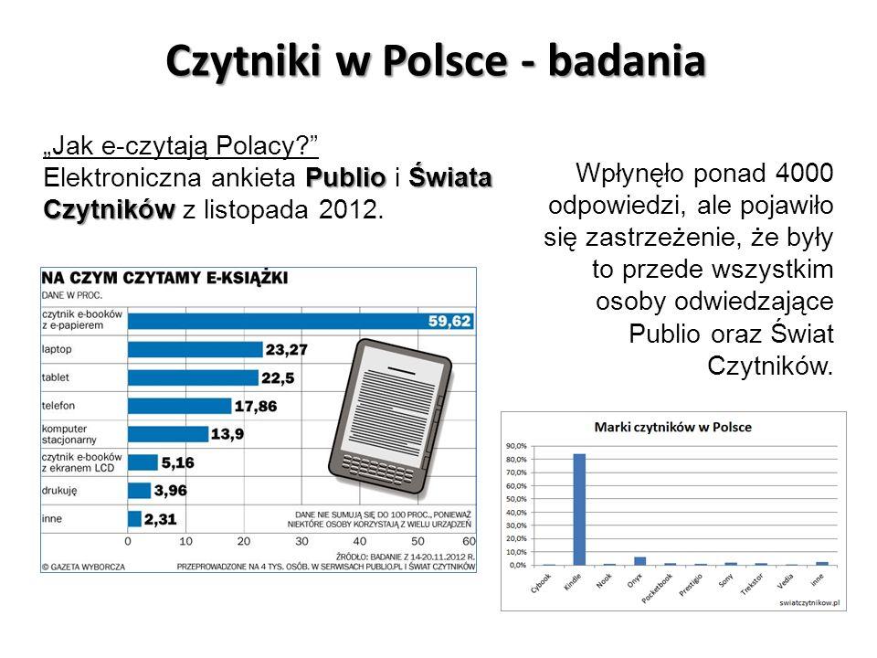 Czytniki w Polsce - badania Jak e-czytają Polacy? PublioŚwiata Czytników Elektroniczna ankieta Publio i Świata Czytników z listopada 2012. Wpłynęło po