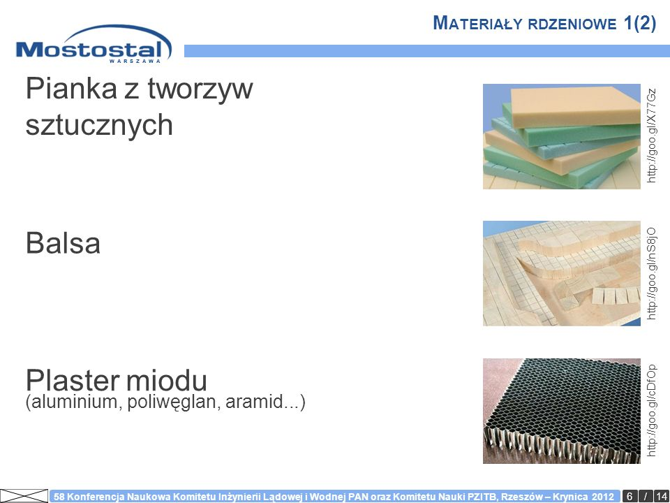 WARSZAWA 7/14 58 Konferencja Naukowa Komitetu Inżynierii Lądowej i Wodnej PAN oraz Komitetu Nauki PZITB, Rzeszów – Krynica 2012 M ATERIAŁY RDZENIOWE 2(2) Pianka Balsa Plaster miodu +++ ++ Wytrzymałość +++ ++ +++ Odporność +++ + Czas + +++ ++ Koszt