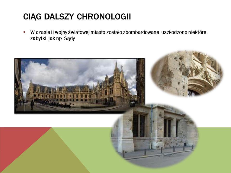 CIĄG DALSZY CHRONOLOGII W czasie II wojny światowej miasto zostało zbombardowane, uszkodzono niektóre zabytki, jak np.