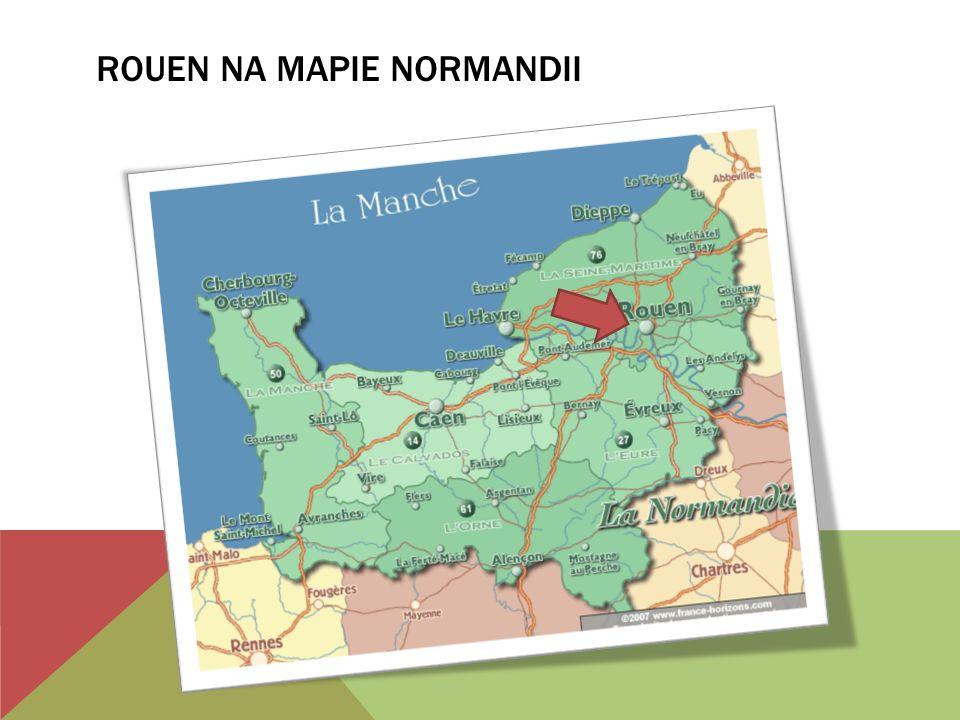 TROCHĘ KONKRETÓW… Region: Normandia Departament: Haute Normandie Liczba mieszkańców (w samym mieście): 110 933 (w 2010r) Cała aglomeracja (miasto+peryferie) liczy ich 652 898 Powierzchnia miasta: 21,38 km2 Rzeka Sekwana przepływa przez miasto Klimat: częste opady deszczu, ALE łagodne zimy i znośne upały dzięki wpływom Kanału la Manche Odległość od Paryża: 135km (ok.