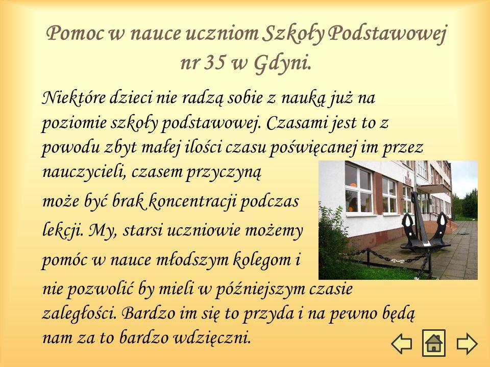 Pomoc w nauce uczniom Szkoły Podstawowej nr 35 w Gdyni. Niektóre dzieci nie radzą sobie z nauką już na poziomie szkoły podstawowej. Czasami jest to z