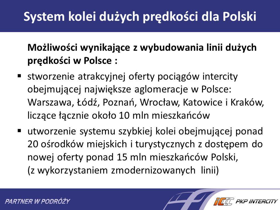 System kolei dużych prędkości dla Polski Możliwości wynikające z wybudowania linii dużych prędkości w Polsce : stworzenie atrakcyjnej oferty pociągów