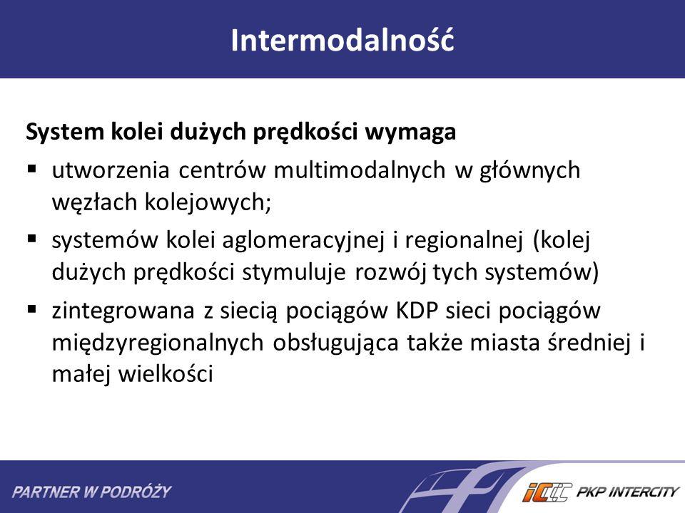 Intermodalność System kolei dużych prędkości wymaga utworzenia centrów multimodalnych w głównych węzłach kolejowych; systemów kolei aglomeracyjnej i r