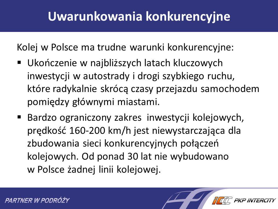 Uwarunkowania konkurencyjne Kolej w Polsce ma trudne warunki konkurencyjne: Ukończenie w najbliższych latach kluczowych inwestycji w autostrady i drog