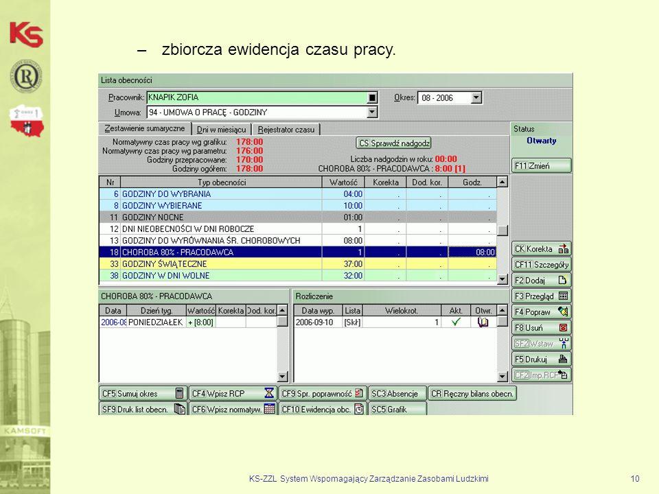 KS-ZZL System Wspomagający Zarządzanie Zasobami Ludzkimi10 –zbiorcza ewidencja czasu pracy.