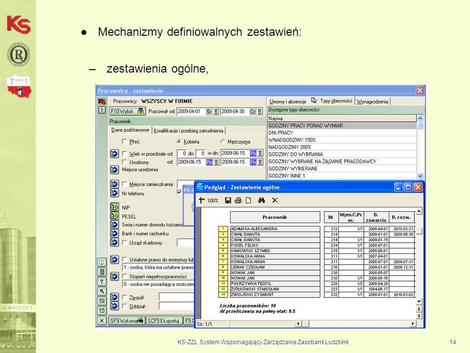 KS-ZZL System Wspomagający Zarządzanie Zasobami Ludzkimi14 Mechanizmy definiowalnych zestawień: –zestawienia ogólne,