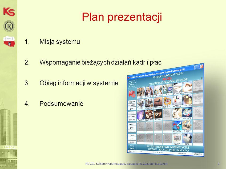 Plan prezentacji 1.Misja systemu 2.Wspomaganie bieżących działań kadr i płac 3.Obieg informacji w systemie 4.Podsumowanie KS-ZZL System Wspomagający Zarządzanie Zasobami Ludzkimi2