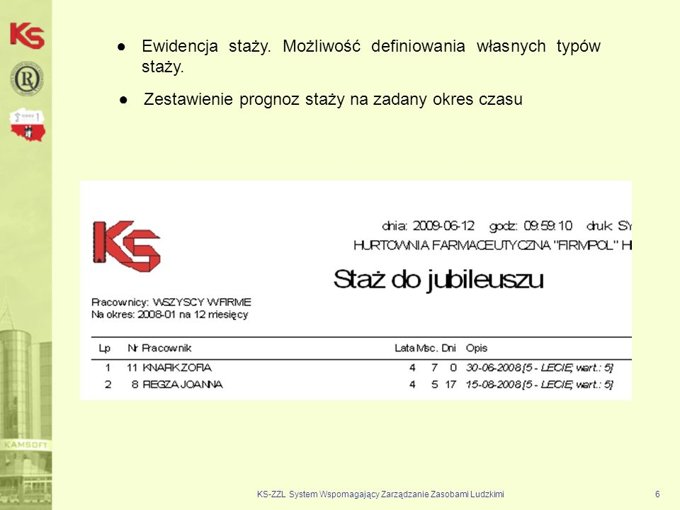 KS-ZZL System Wspomagający Zarządzanie Zasobami Ludzkimi6 Ewidencja staży. Możliwość definiowania własnych typów staży. Zestawienie prognoz staży na z