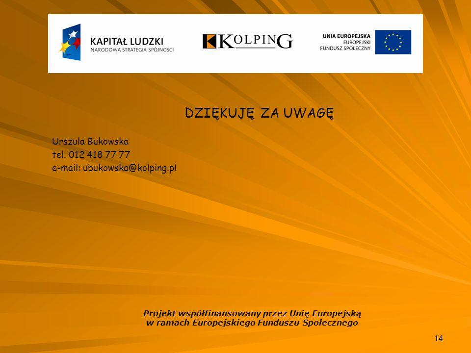 14 DZIĘKUJĘ ZA UWAGĘ Urszula Bukowska tel.