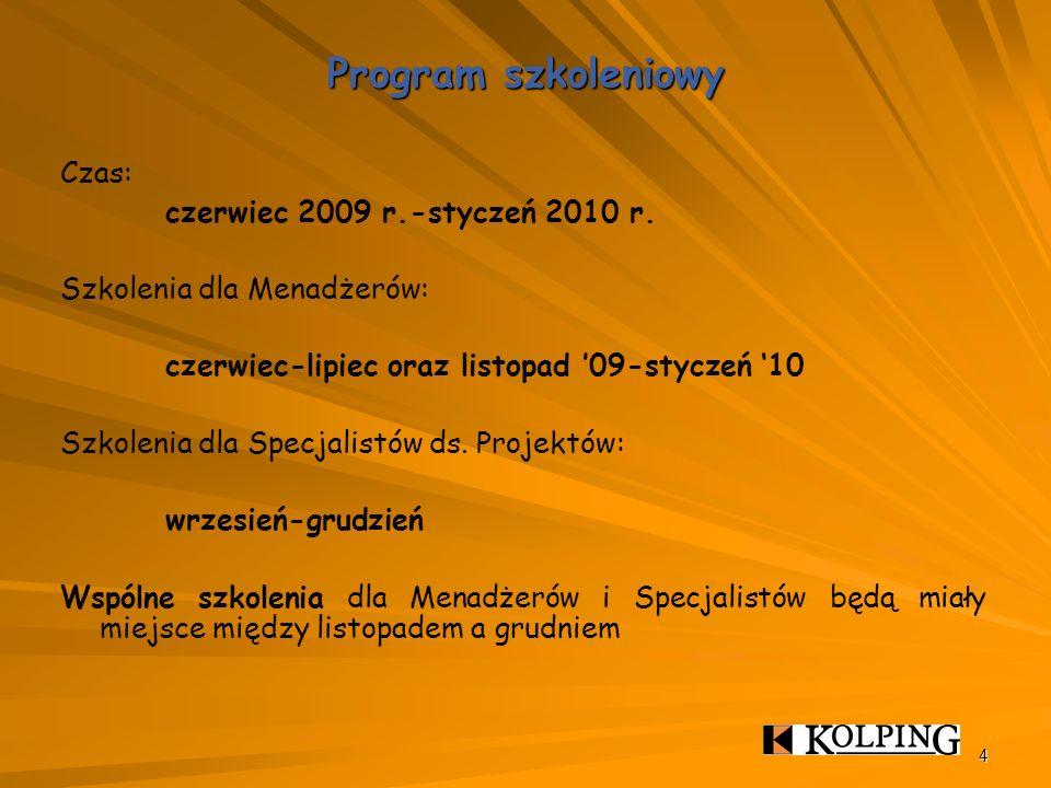 4 Program szkoleniowy Czas: czerwiec 2009 r.-styczeń 2010 r.