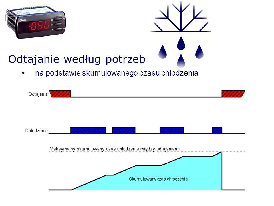 Odtajanie według potrzeb na podstawie stopnia zaszronienia parownika (EKC 202/302) Zaszronienie rośnie Temperatura S5 spada* - dotyczy tylko układów 1:1 (jedna sprężarka : jedna chłodnica), - metoda ta jest dopuszczalna w układzie z oddesaniem czynnika