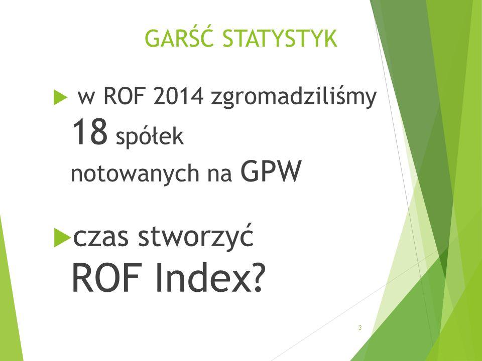 GARŚĆ STATYSTYK w ROF 2014 zgromadziliśmy 18 spółek notowanych na GPW czas stworzyć ROF Index 3
