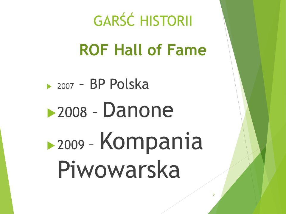 GARŚĆ HISTORII ROF Hall of Fame 2007 – BP Polska 2008 – Danone 2009 – Kompania Piwowarska 5