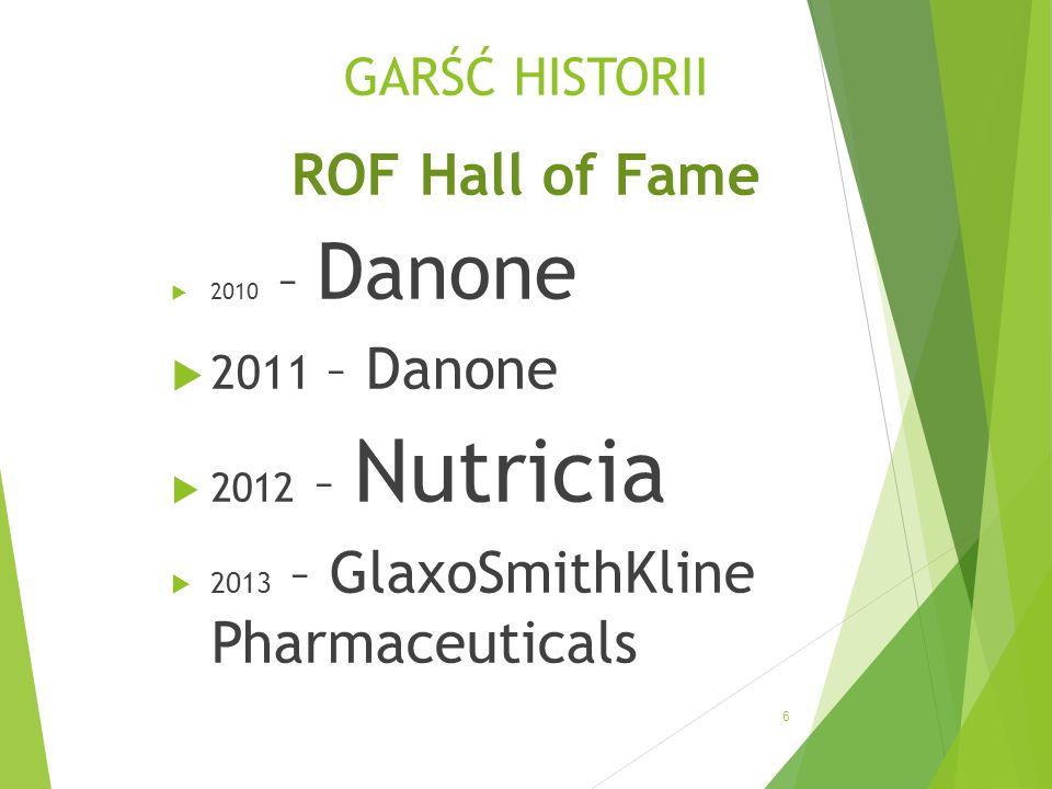 GARŚĆ HISTORII ROF Hall of Fame 2010 – Danone 2011 – Danone 2012 – Nutricia 2013 – GlaxoSmithKline Pharmaceuticals 6