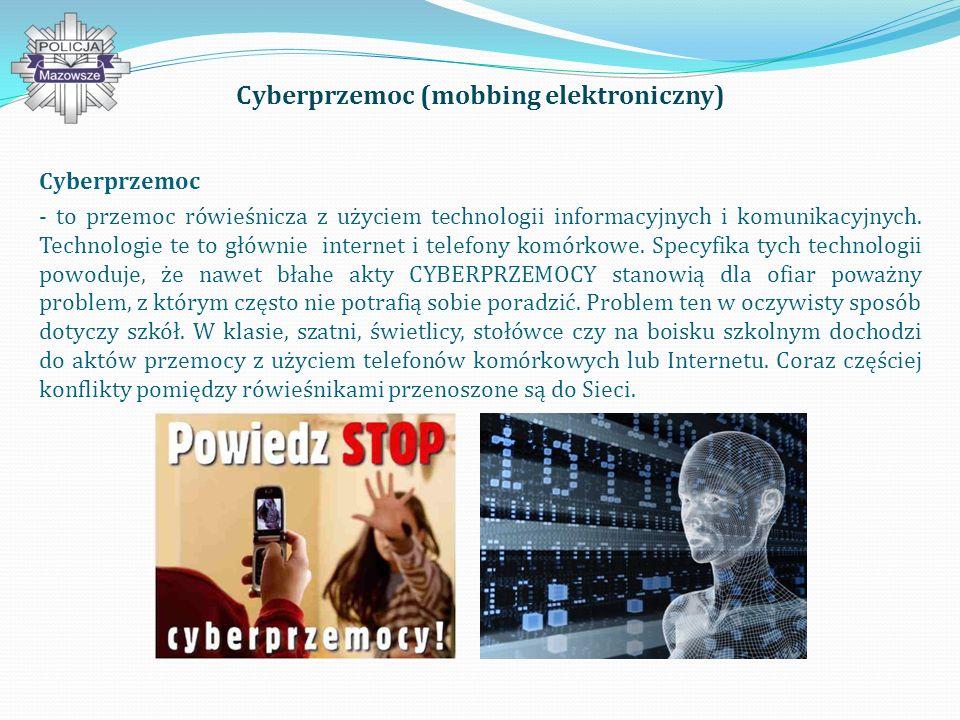 Cyberprzemoc (mobbing elektroniczny) Cyberprzemoc - to przemoc rówieśnicza z użyciem technologii informacyjnych i komunikacyjnych.