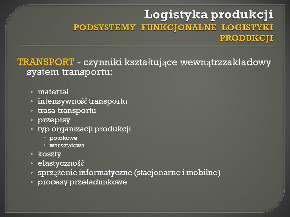 TRANSPORT - czynniki kszta ł tuj ą ce wewn ą trzzak ł adowy system transportu: materia ł intensywno ść transportu trasa transportu przepisy typ organi