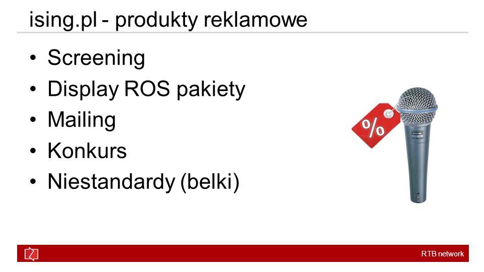 RTB network ising.pl - produkty reklamowe Screening Display ROS pakiety Mailing Konkurs Niestandardy (belki)