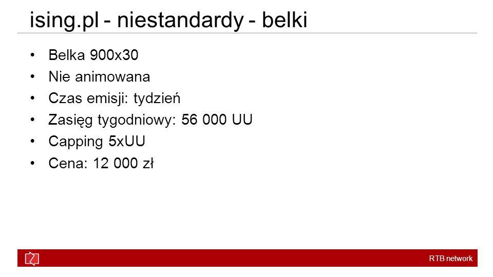 RTB network Belka 900x30 Nie animowana Czas emisji: tydzień Zasięg tygodniowy: 56 000 UU Capping 5xUU Cena: 12 000 zł ising.pl - niestandardy - belki
