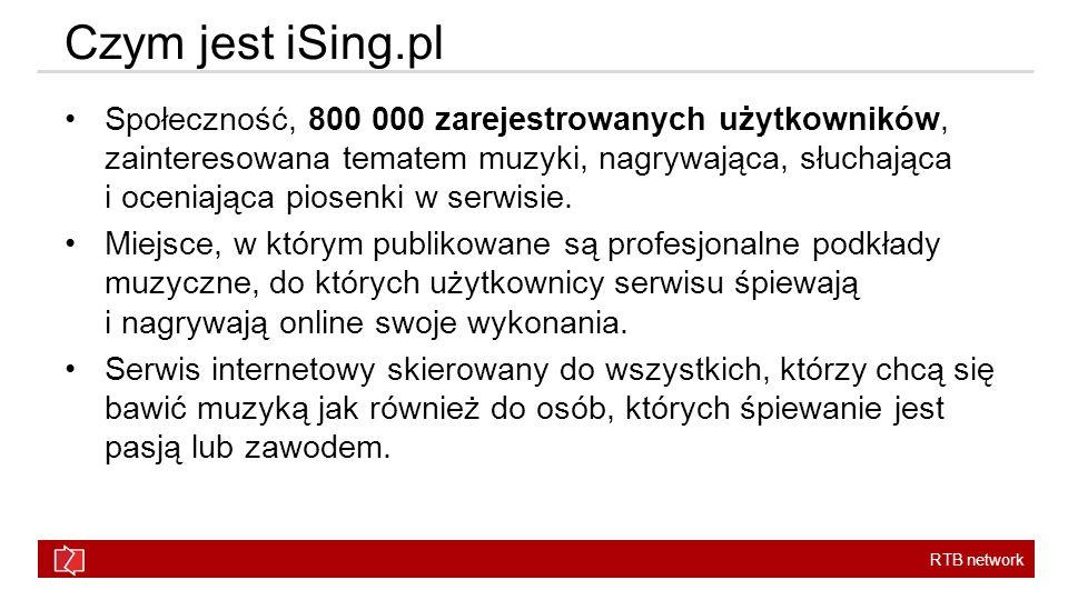 RTB network Czym jest iSing.pl Społeczność, 800 000 zarejestrowanych użytkowników, zainteresowana tematem muzyki, nagrywająca, słuchająca i oceniająca piosenki w serwisie.
