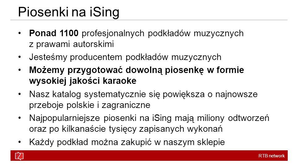 RTB network Piosenki na iSing Ponad 1100 profesjonalnych podkładów muzycznych z prawami autorskimi Jesteśmy producentem podkładów muzycznych Możemy przygotować dowolną piosenkę w formie wysokiej jakości karaoke Nasz katalog systematycznie się powiększa o najnowsze przeboje polskie i zagraniczne Najpopularniejsze piosenki na iSing mają miliony odtworzeń oraz po kilkanaście tysięcy zapisanych wykonań Każdy podkład można zakupić w naszym sklepie