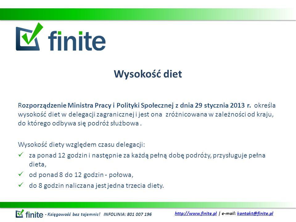 Wysokość diet Rozporządzenie Ministra Pracy i Polityki Społecznej z dnia 29 stycznia 2013 r. określa wysokość diet w delegacji zagranicznej i jest ona