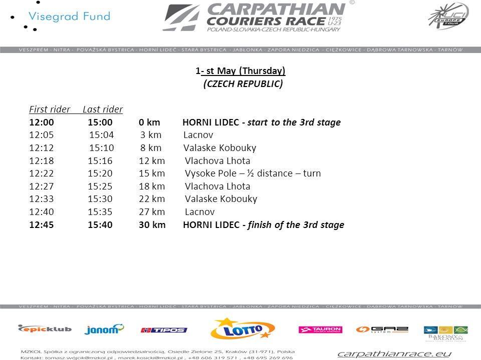 1- st May (Thursday) (CZECH REPUBLIC) First rider Last rider 12:00 15:00 0 km HORNI LIDEC - start to the 3rd stage 12:05 15:04 3 km Lacnov 12:12 15:10