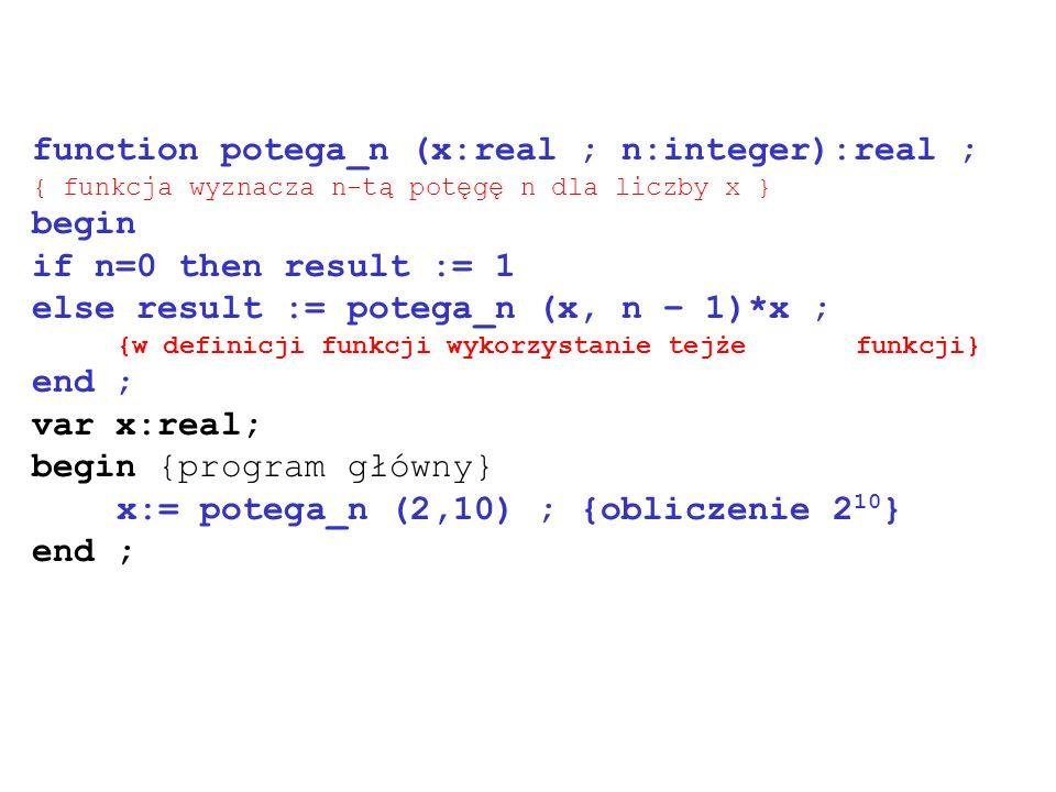 function potega_n (x:real ; n:integer):real ; { funkcja wyznacza n-tą potęgę n dla liczby x } begin if n=0 then result := 1 else result := potega_n (x
